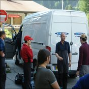 Unloading kit in Chamonix