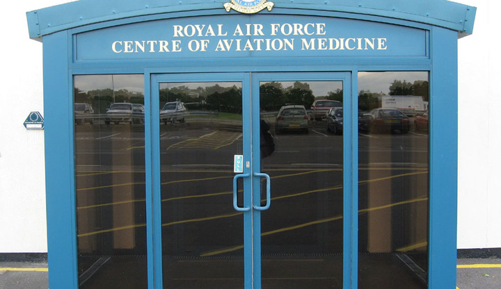 CAM Door: the entrance to the RAF Centre of Aviation Medicine, RAF Henlow