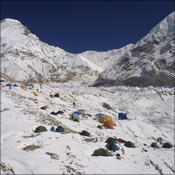 Xtreme Everest camp looking east to Cho Oyu