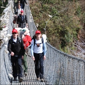 Investigators crossing suspension bridge