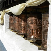 Prayer wheels at Namche Bazaar
