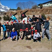 Trek C leaving the Namche laboratory