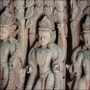 Carvings inside the palace waiting to be put back in place