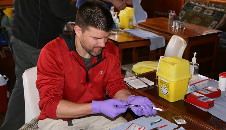 Tim prepping blood samples for testing