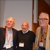 Three great men of high altitude medicine stand together.  (from left, Jim Milledge, Tom Hornbein and John Severinghaus)