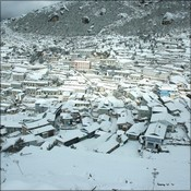 Namche covered in snow