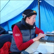 Kay in her office at base camp