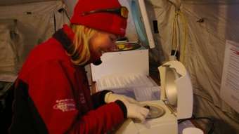 Liesl using the centrifuge