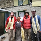 Roger and Nigel with Lodge owners at Dingboche