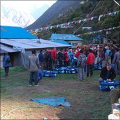 Group M meeting porters in Lukla